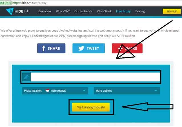 cara membuka web yg diblokir dengan Web-Proxy-Hide-me